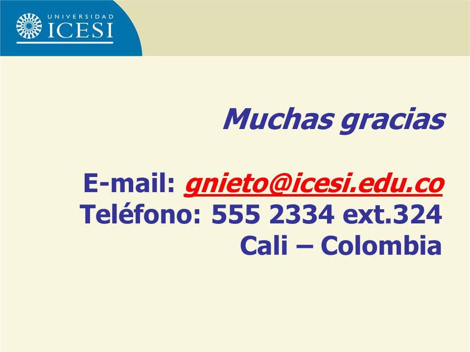Muchas gracias E-mail: gnieto@icesi.edu.co Teléfono: 555 2334 ext.324 Cali – Colombiagnieto@icesi.edu.co