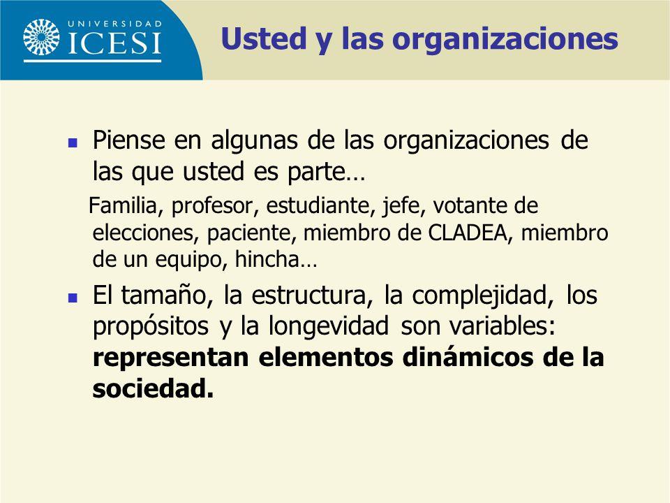 Usted y las organizaciones Piense en algunas de las organizaciones de las que usted es parte… Familia, profesor, estudiante, jefe, votante de eleccion