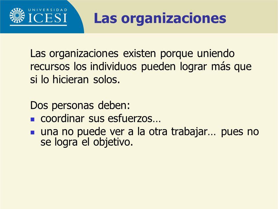 Las organizaciones Las organizaciones existen porque uniendo recursos los individuos pueden lograr más que si lo hicieran solos. Dos personas deben: c