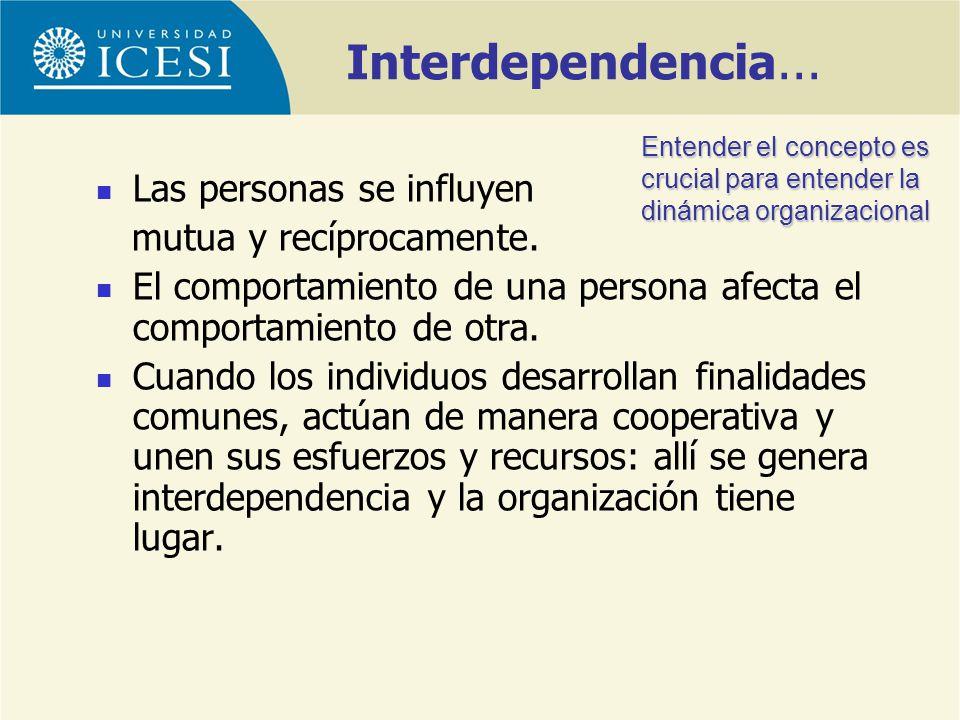 Interdependencia... Las personas se influyen mutua y recíprocamente. El comportamiento de una persona afecta el comportamiento de otra. Cuando los ind
