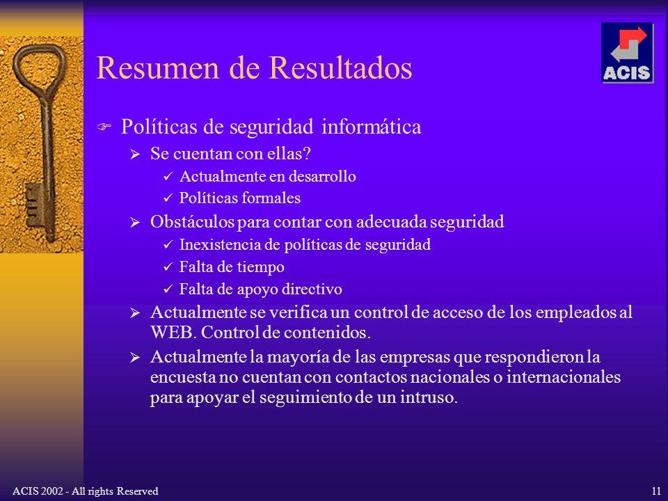 ACIS 2002 - All rights Reserved11 Resumen de Resultados Políticas de seguridad informática Se cuentan con ellas.