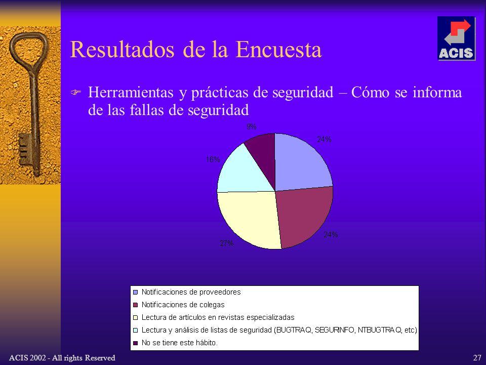 ACIS 2002 - All rights Reserved27 Resultados de la Encuesta Herramientas y prácticas de seguridad – Cómo se informa de las fallas de seguridad