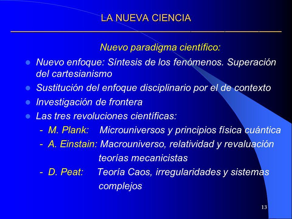 13 LA NUEVA CIENCIA LA NUEVA CIENCIA Nuevo paradigma científico: Nuevo enfoque: Síntesis de los fenómenos. Superación del cartesianismo Sustitución de