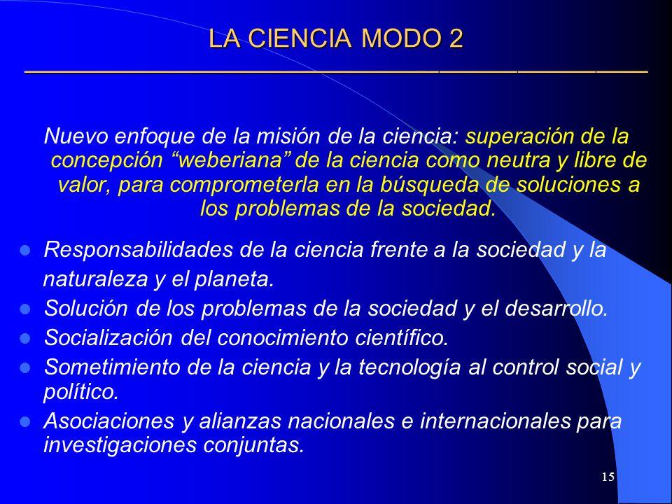 15 LA CIENCIA MODO 2 LA CIENCIA MODO 2 Nuevo enfoque de la misión de la ciencia: superación de la concepción weberiana de la ciencia como neutra y lib