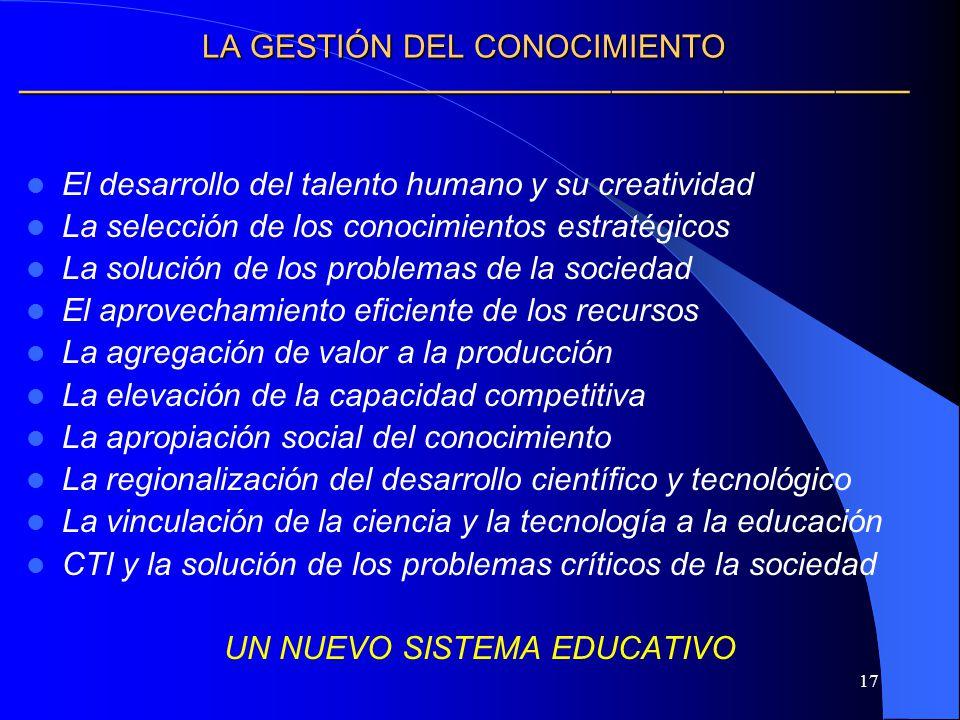 17 LA GESTIÓN DEL CONOCIMIENTO LA GESTIÓN DEL CONOCIMIENTO El desarrollo del talento humano y su creatividad La selección de los conocimientos estraté