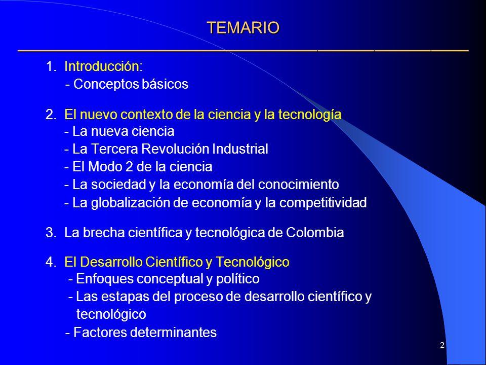 2 TEMARIO TEMARIO 1. Introducción: - Conceptos básicos 2. El nuevo contexto de la ciencia y la tecnología - La nueva ciencia - La Tercera Revolución I