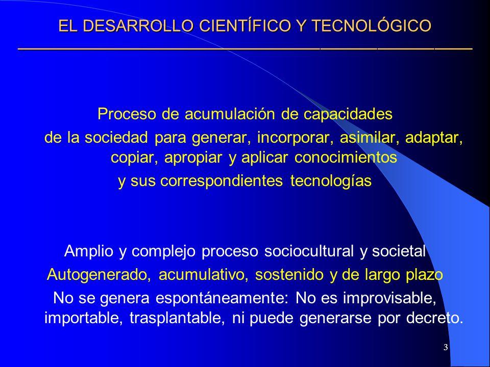 3 EL DESARROLLO CIENTÍFICO Y TECNOLÓGICO EL DESARROLLO CIENTÍFICO Y TECNOLÓGICO Proceso de acumulación de capacidades de la sociedad para generar, inc