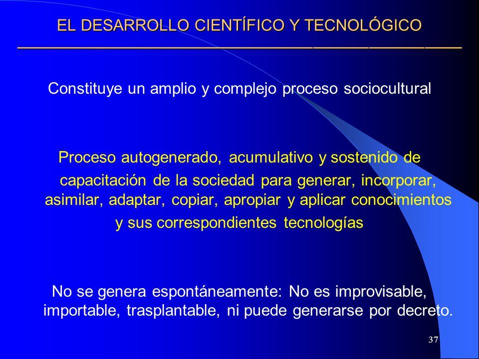 37 EL DESARROLLO CIENTÍFICO Y TECNOLÓGICO EL DESARROLLO CIENTÍFICO Y TECNOLÓGICO Constituye un amplio y complejo proceso sociocultural Proceso autogen