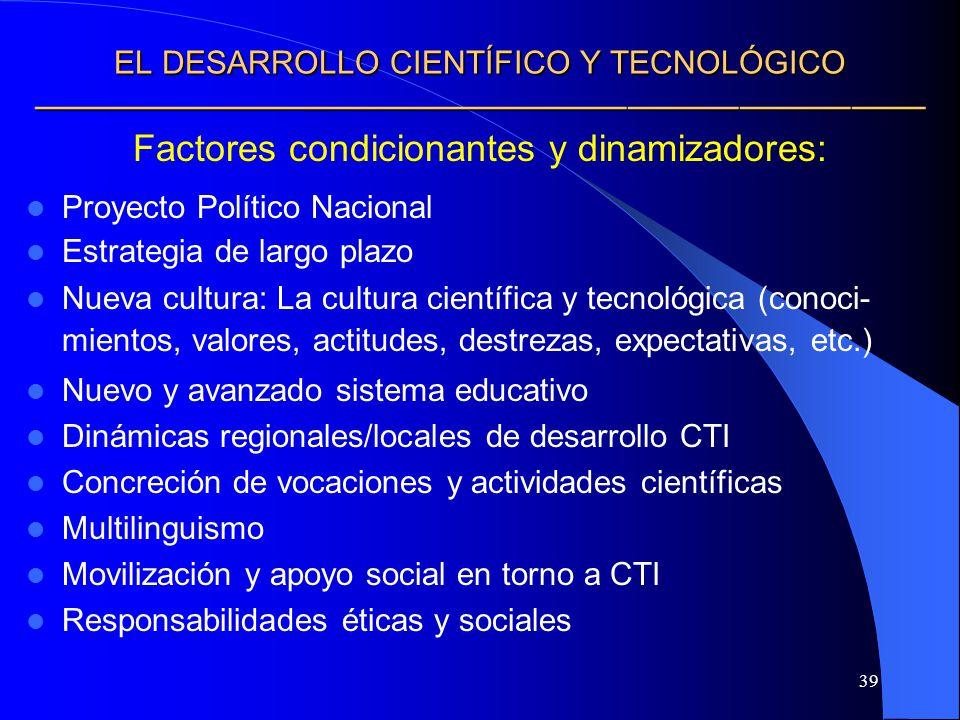 39 EL DESARROLLO CIENTÍFICO Y TECNOLÓGICO EL DESARROLLO CIENTÍFICO Y TECNOLÓGICO Factores condicionantes y dinamizadores: Proyecto Político Nacional E