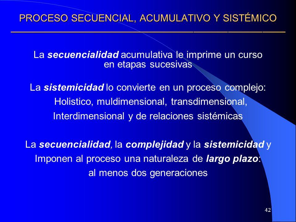 42 PROCESO SECUENCIAL, ACUMULATIVO Y SISTÉMICO PROCESO SECUENCIAL, ACUMULATIVO Y SISTÉMICO La secuencialidad acumulativa le imprime un curso en etapas