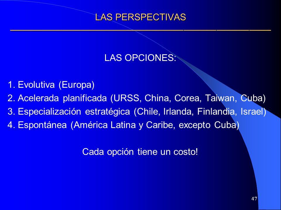 47 LAS PERSPECTIVAS LAS PERSPECTIVAS LAS OPCIONES: 1. Evolutiva (Europa) 2. Acelerada planificada (URSS, China, Corea, Taiwan, Cuba) 3. Especializació
