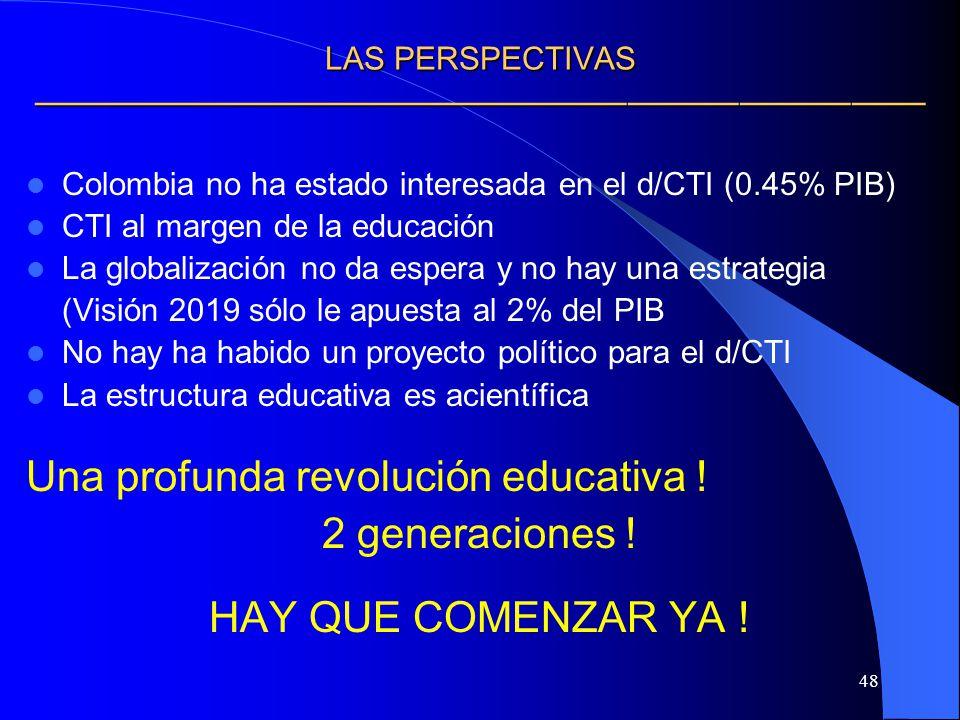 48 LAS PERSPECTIVAS LAS PERSPECTIVAS Colombia no ha estado interesada en el d/CTI (0.45% PIB) CTI al margen de la educación La globalización no da esp