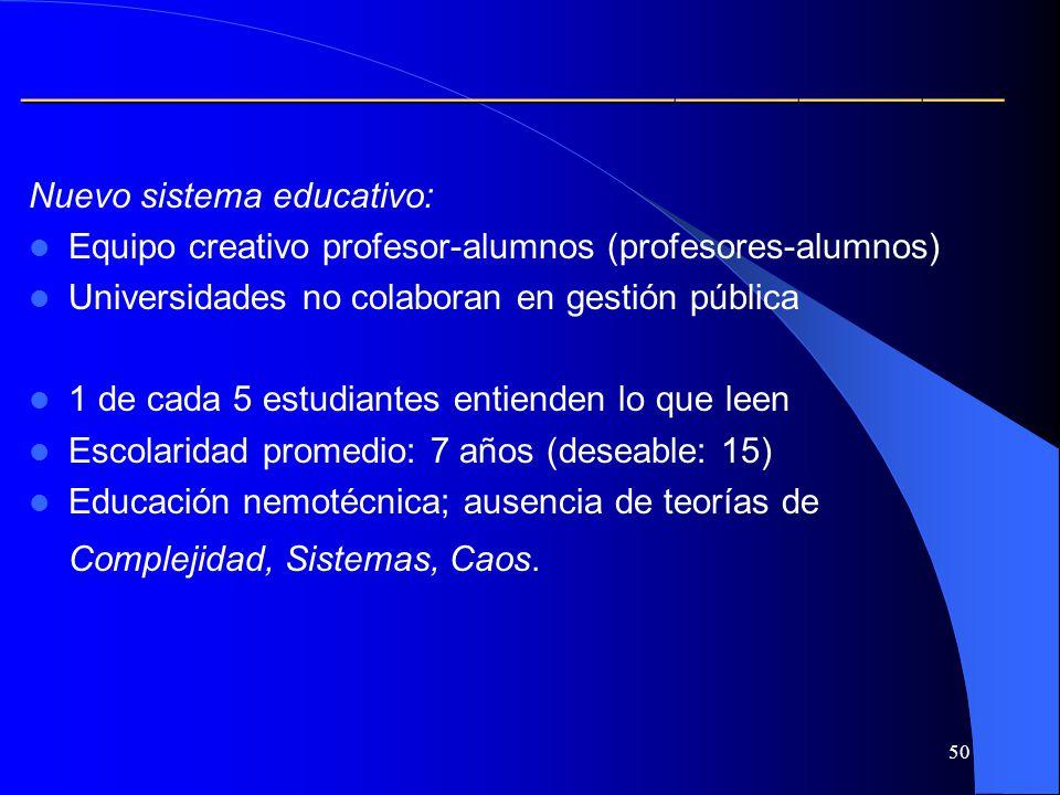 50 Nuevo sistema educativo: Equipo creativo profesor-alumnos (profesores-alumnos) Universidades no colaboran en gestión pública 1 de cada 5 estudiante