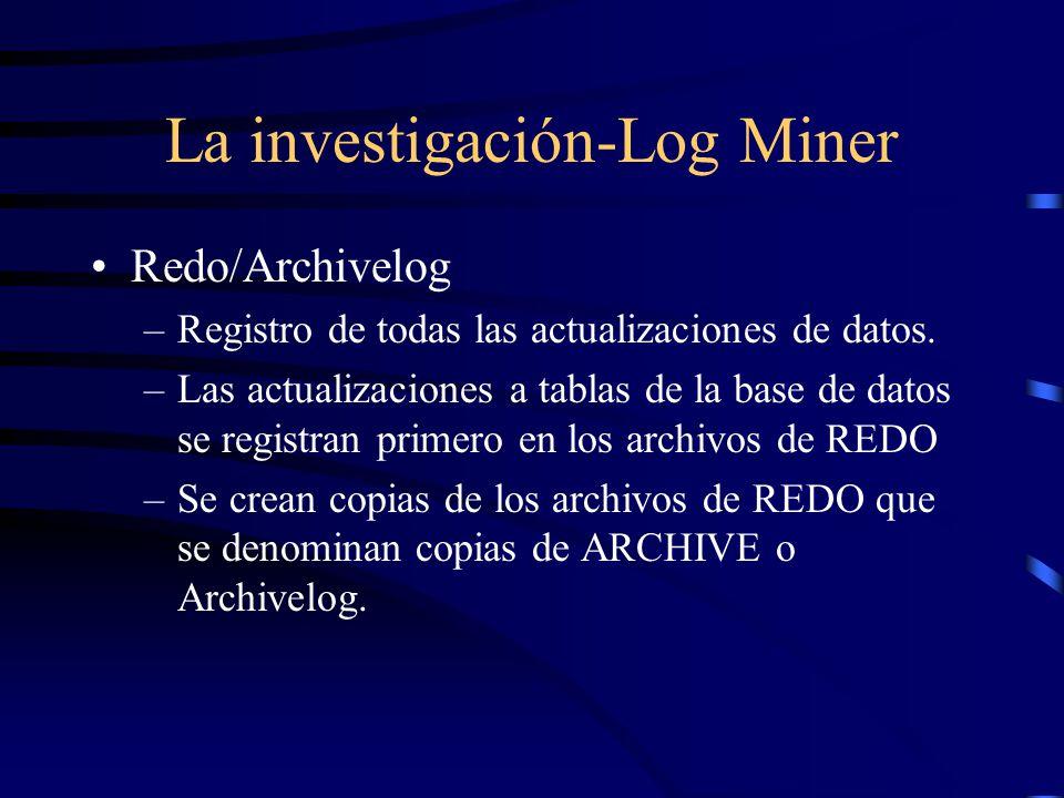 La investigación-Log Miner Redo/Archivelog –Registro de todas las actualizaciones de datos. –Las actualizaciones a tablas de la base de datos se regis