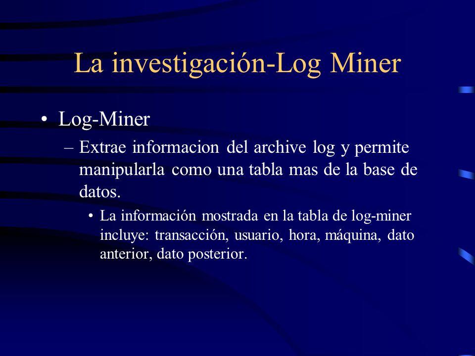 La investigación-Log Miner Log-Miner –Extrae informacion del archive log y permite manipularla como una tabla mas de la base de datos. La información