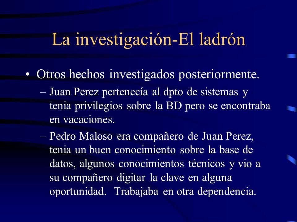 La investigación-El ladrón Otros hechos investigados posteriormente. –Juan Perez pertenecía al dpto de sistemas y tenia privilegios sobre la BD pero s