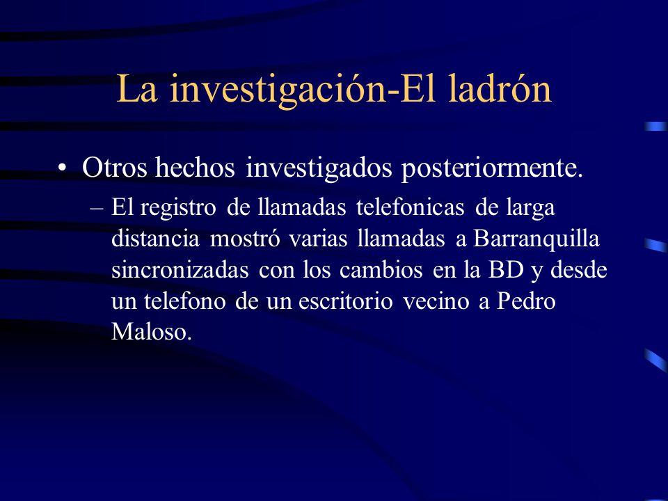 La investigación-El ladrón Otros hechos investigados posteriormente. –El registro de llamadas telefonicas de larga distancia mostró varias llamadas a