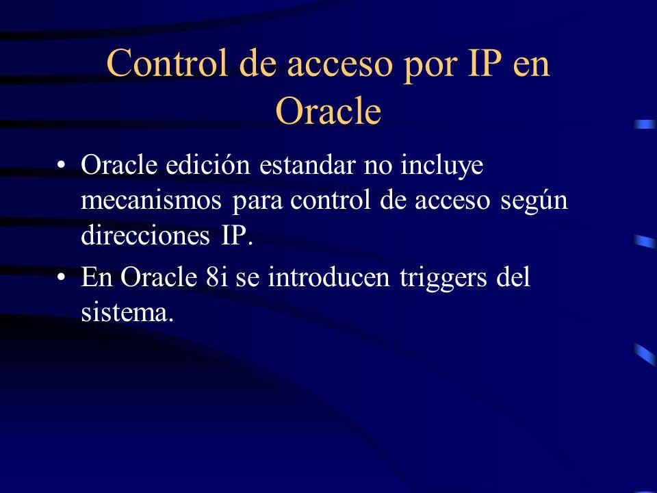 Control de acceso por IP en Oracle Oracle edición estandar no incluye mecanismos para control de acceso según direcciones IP. En Oracle 8i se introduc