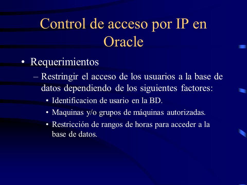 Control de acceso por IP en Oracle Requerimientos –Restringir el acceso de los usuarios a la base de datos dependiendo de los siguientes factores: Ide
