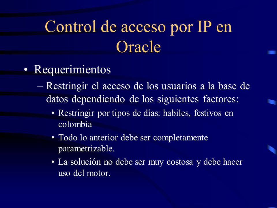 Control de acceso por IP en Oracle Requerimientos –Restringir el acceso de los usuarios a la base de datos dependiendo de los siguientes factores: Res