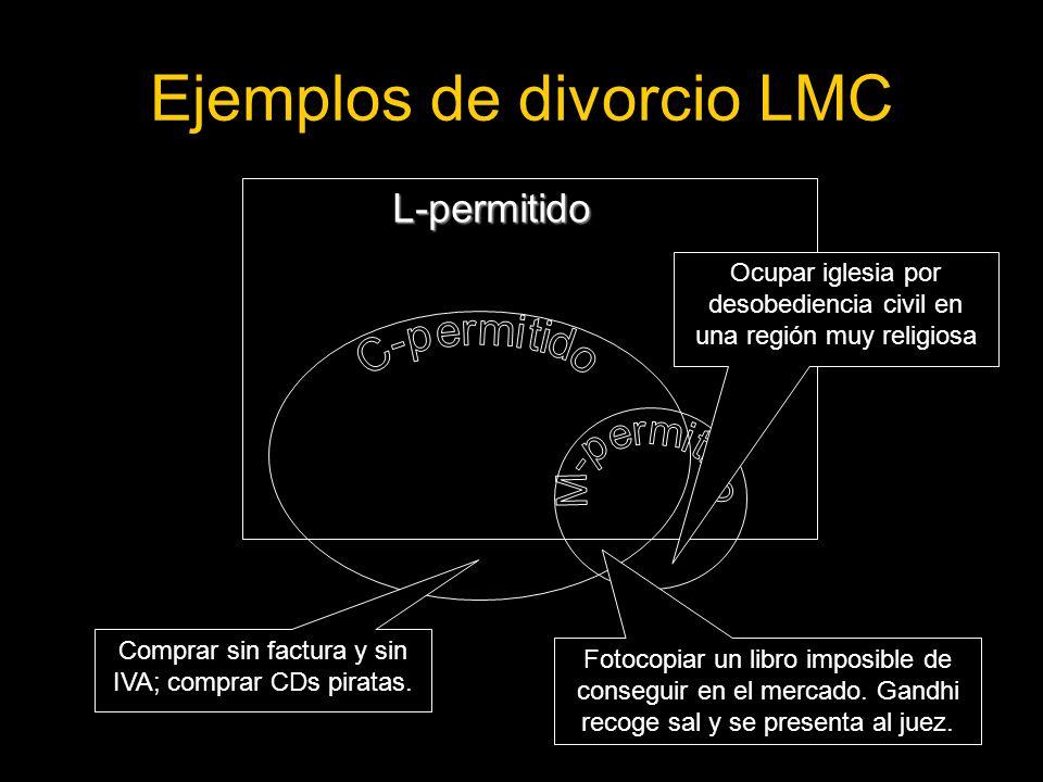 Ejemplos de divorcio LMC L-permitido Comprar sin factura y sin IVA; comprar CDs piratas.