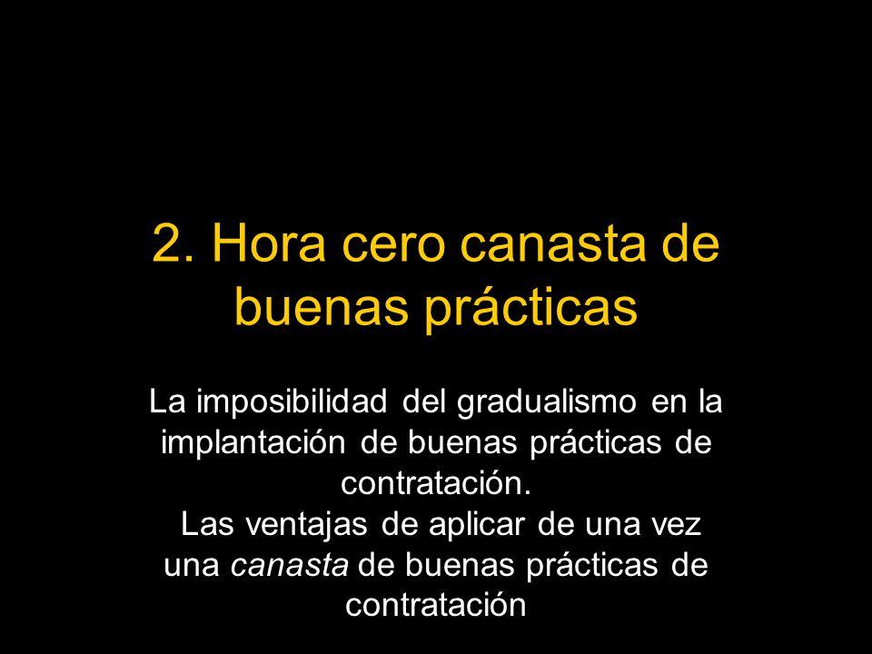 2. Hora cero canasta de buenas prácticas La imposibilidad del gradualismo en la implantación de buenas prácticas de contratación. Las ventajas de apli