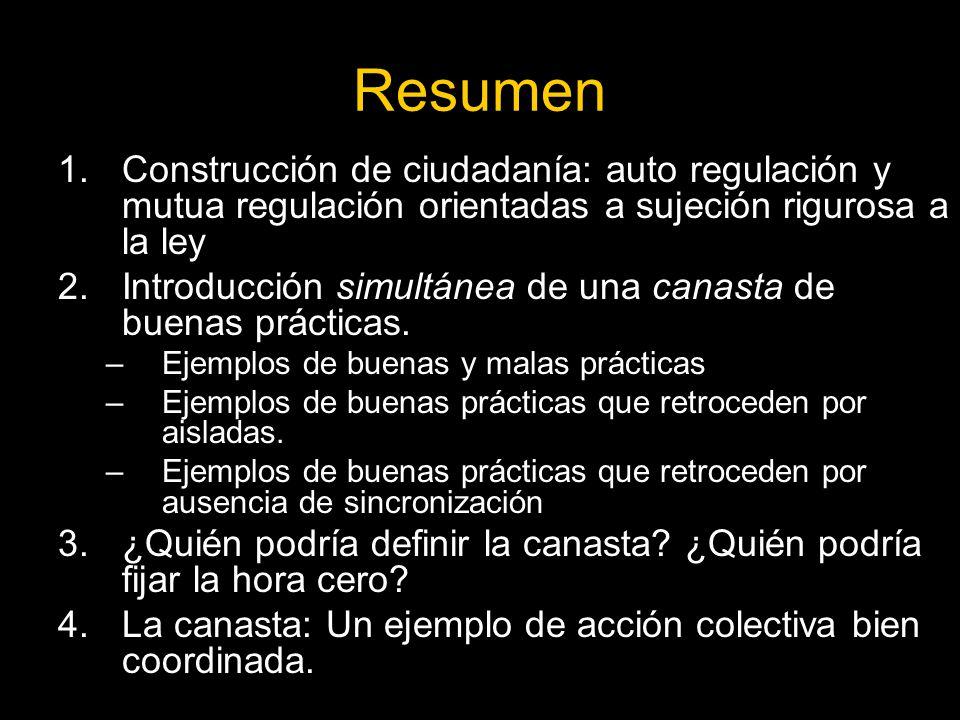 Resumen 1.Construcción de ciudadanía: auto regulación y mutua regulación orientadas a sujeción rigurosa a la ley 2.Introducción simultánea de una canasta de buenas prácticas.