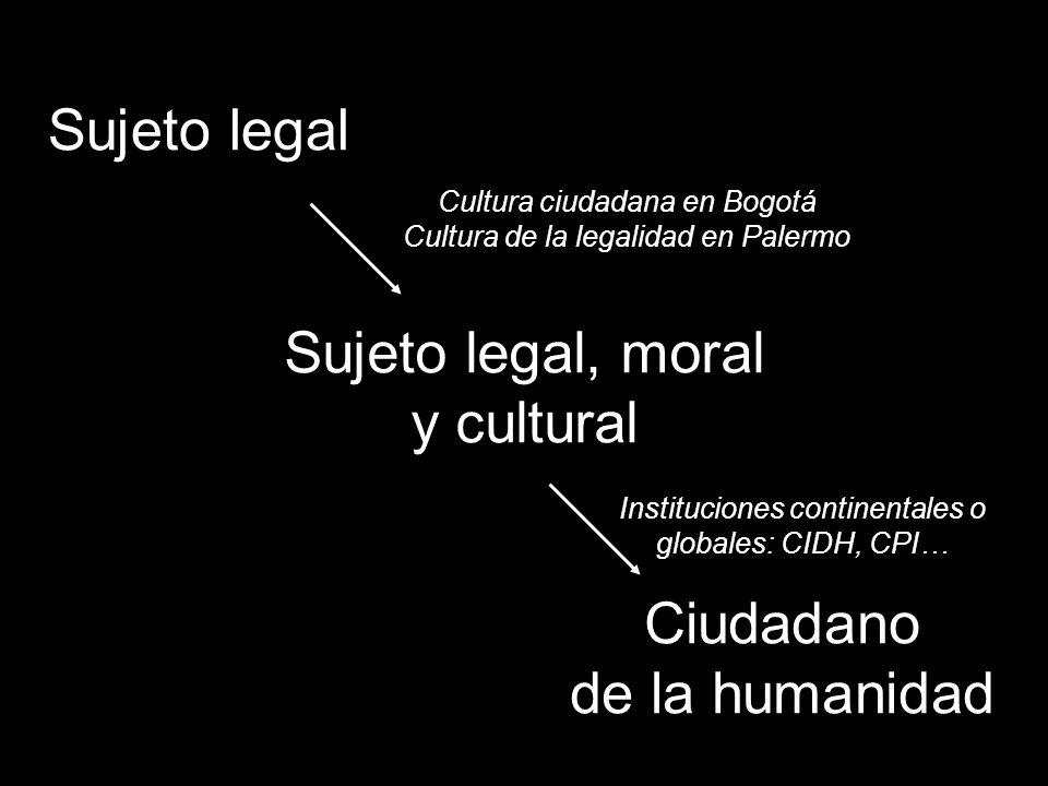 Sujeto legal Sujeto legal, moral y cultural Ciudadano de la humanidad Cultura ciudadana en Bogotá Cultura de la legalidad en Palermo Instituciones continentales o globales: CIDH, CPI…