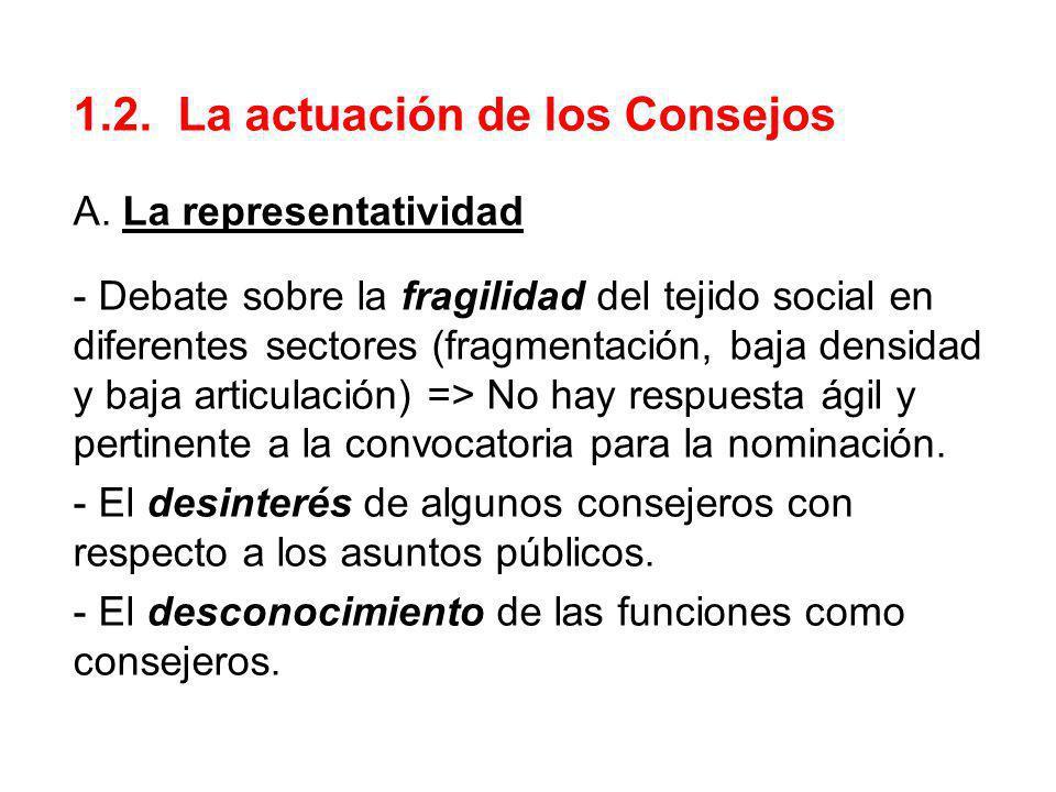 1.2. La actuación de los Consejos A. La representatividad - Debate sobre la fragilidad del tejido social en diferentes sectores (fragmentación, baja d