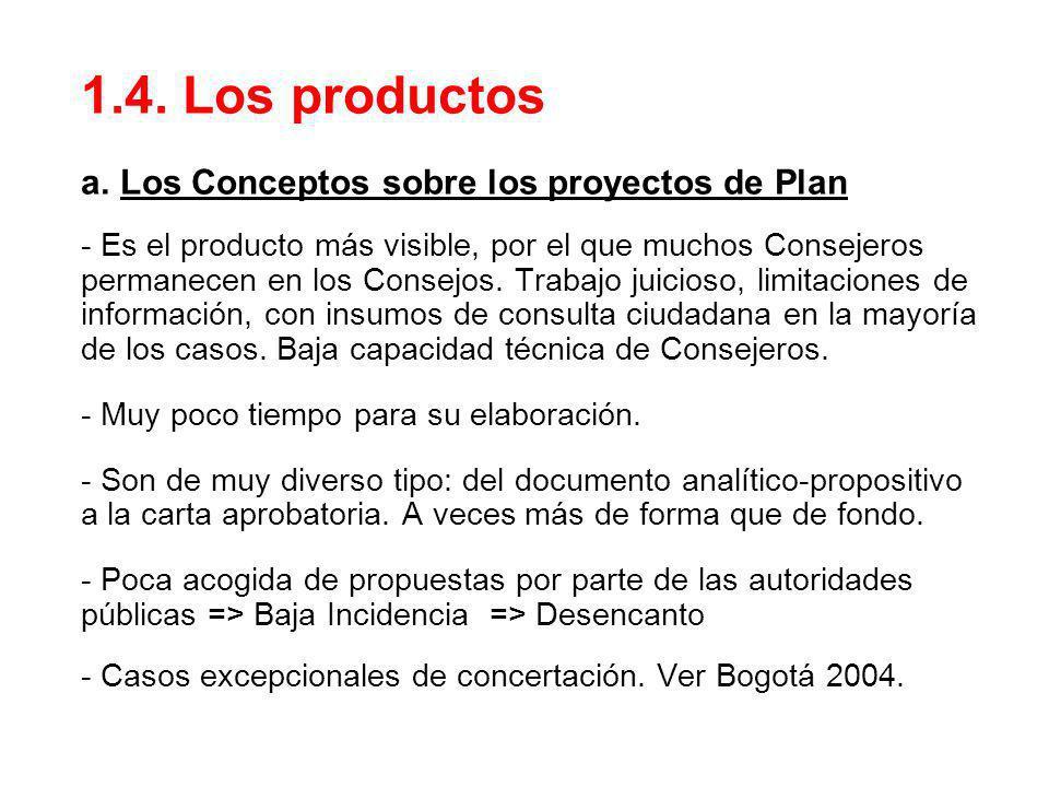 1.4. Los productos a. Los Conceptos sobre los proyectos de Plan - Es el producto más visible, por el que muchos Consejeros permanecen en los Consejos.