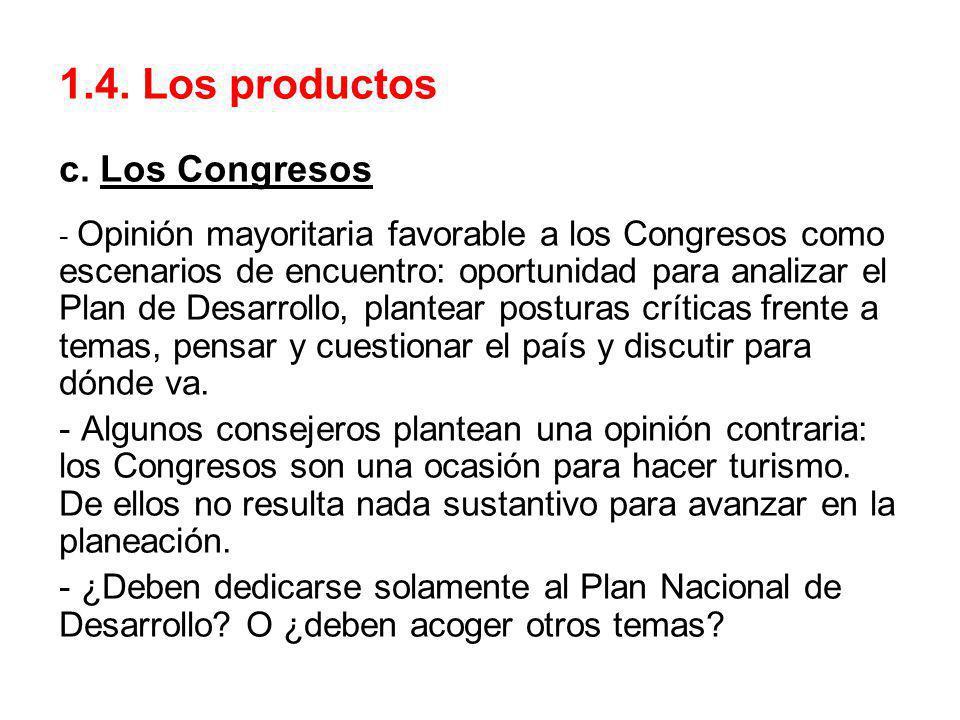 1.4. Los productos c. Los Congresos - Opinión mayoritaria favorable a los Congresos como escenarios de encuentro: oportunidad para analizar el Plan de