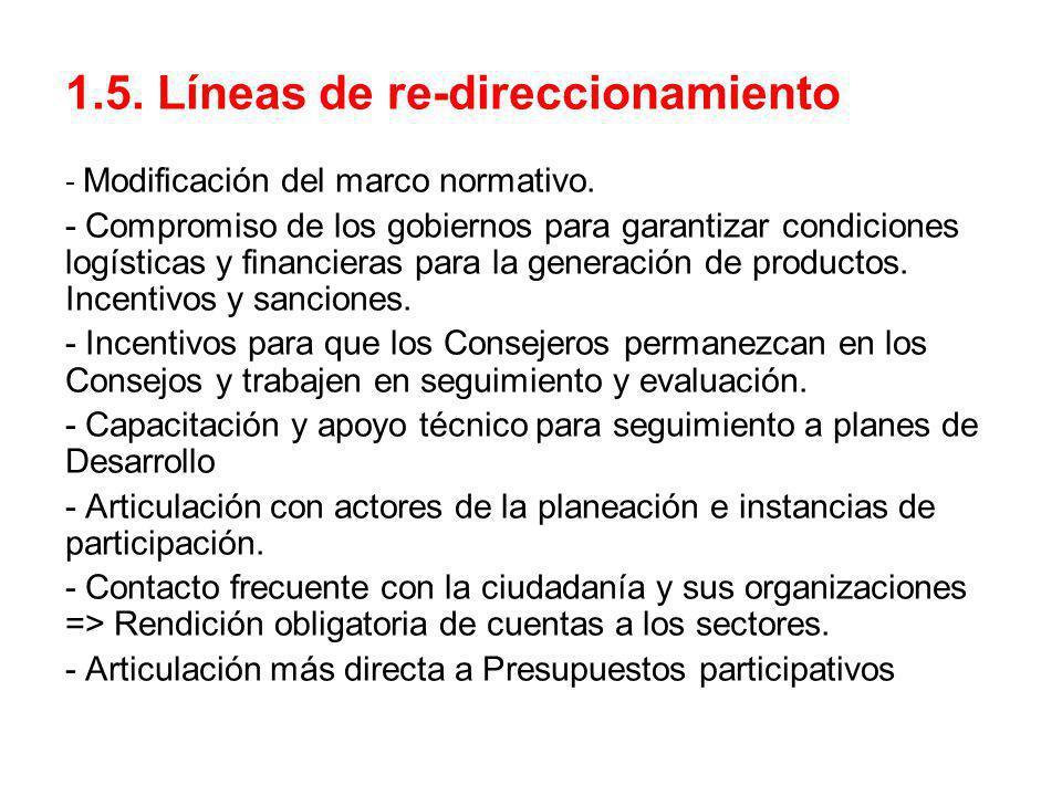 1.5. Líneas de re-direccionamiento - Modificación del marco normativo. - Compromiso de los gobiernos para garantizar condiciones logísticas y financie