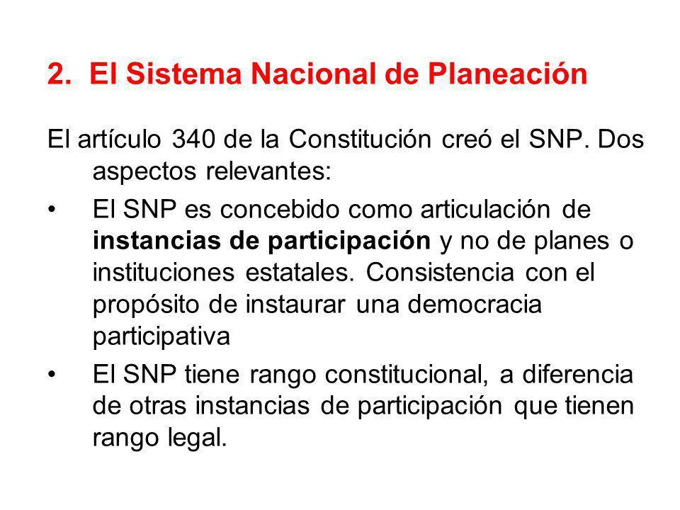 2. El Sistema Nacional de Planeación El artículo 340 de la Constitución creó el SNP. Dos aspectos relevantes: El SNP es concebido como articulación de