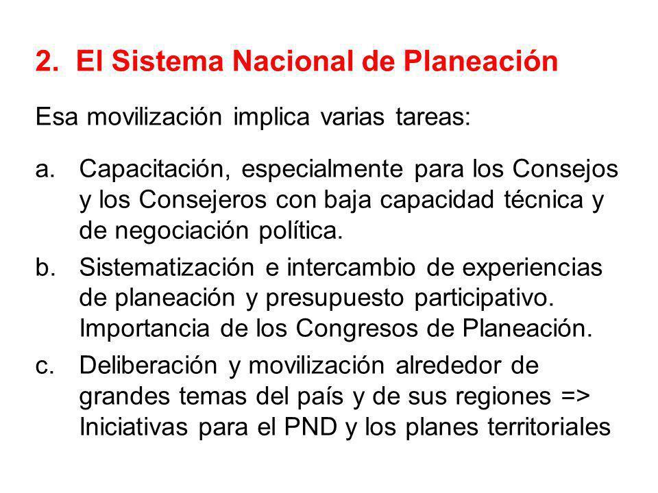 2. El Sistema Nacional de Planeación Esa movilización implica varias tareas: a.Capacitación, especialmente para los Consejos y los Consejeros con baja