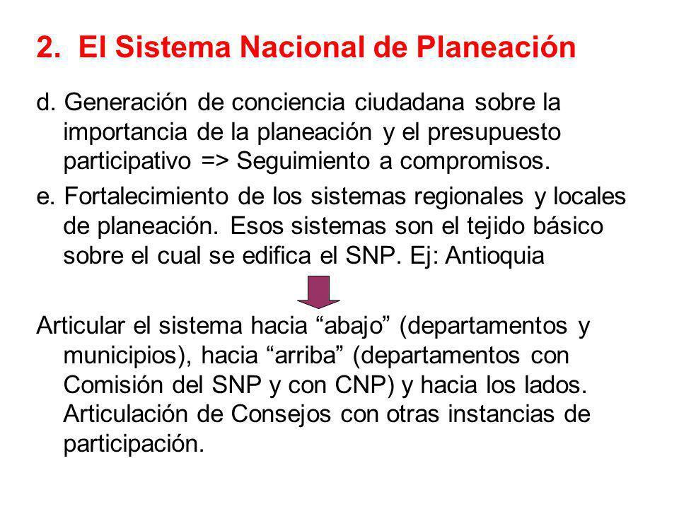 2. El Sistema Nacional de Planeación d. Generación de conciencia ciudadana sobre la importancia de la planeación y el presupuesto participativo => Seg