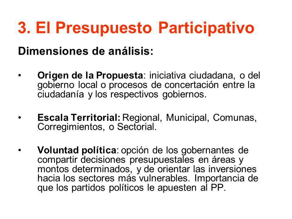 3. El Presupuesto Participativo Dimensiones de análisis: Origen de la Propuesta: iniciativa ciudadana, o del gobierno local o procesos de concertación
