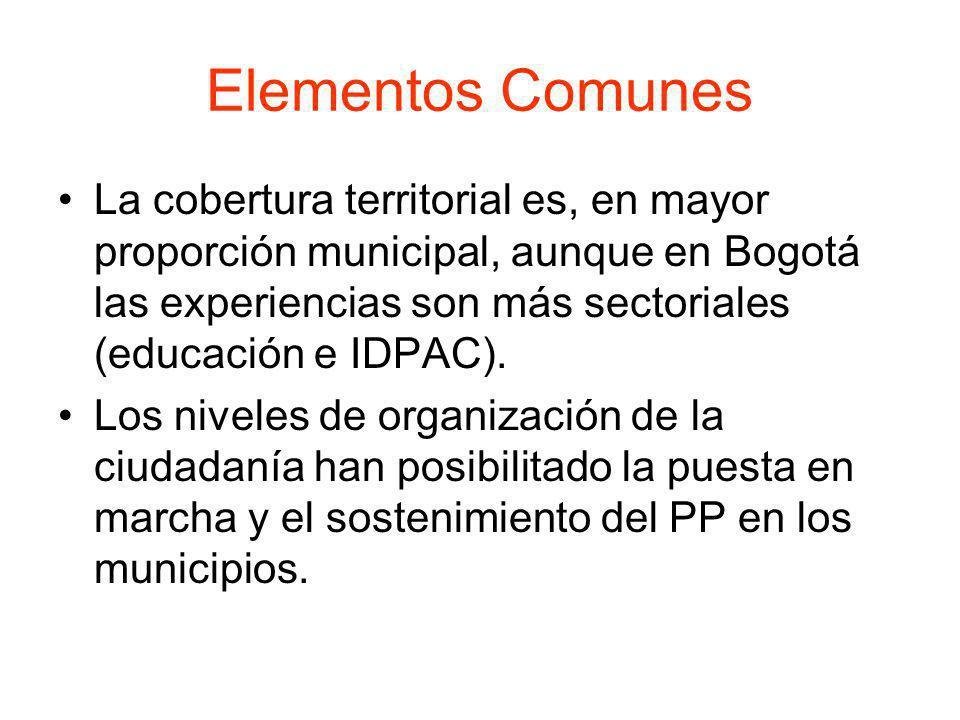Elementos Comunes La cobertura territorial es, en mayor proporción municipal, aunque en Bogotá las experiencias son más sectoriales (educación e IDPAC
