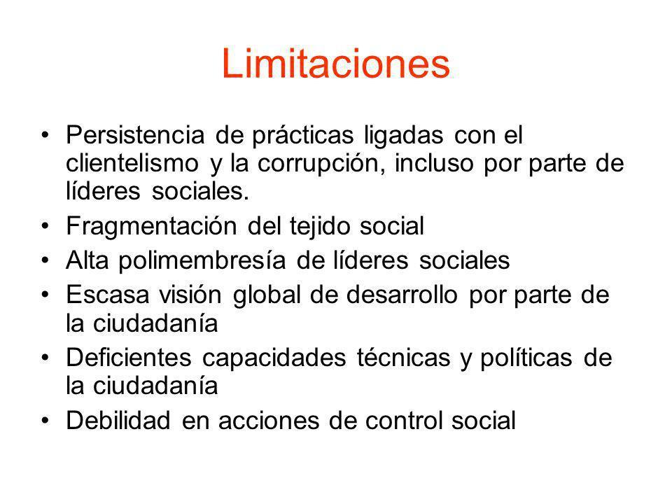 Limitaciones Persistencia de prácticas ligadas con el clientelismo y la corrupción, incluso por parte de líderes sociales. Fragmentación del tejido so