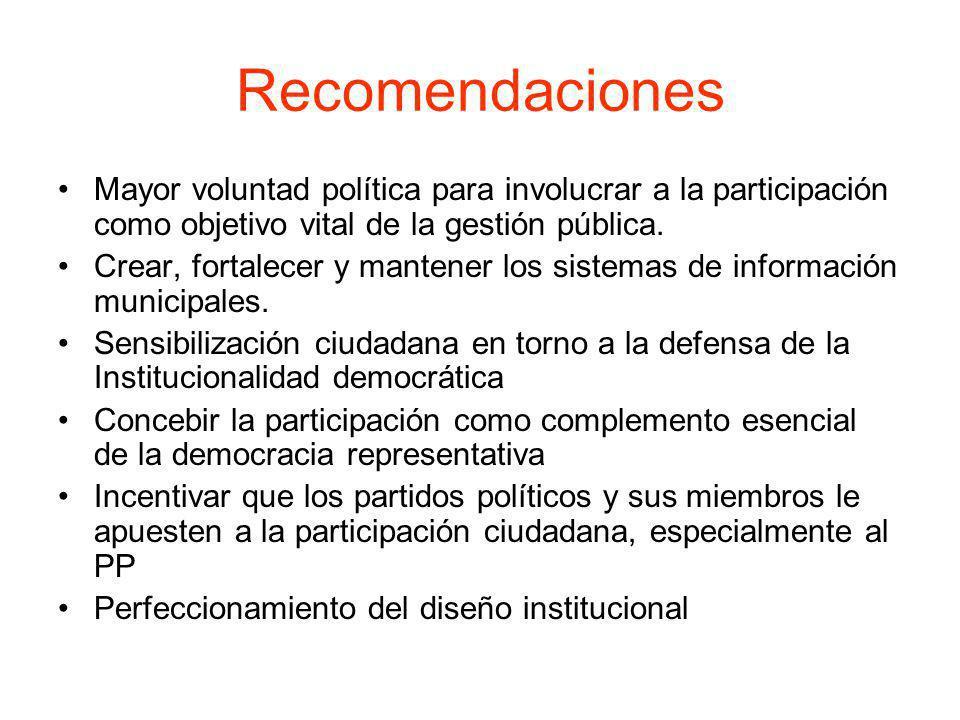 Recomendaciones Mayor voluntad política para involucrar a la participación como objetivo vital de la gestión pública. Crear, fortalecer y mantener los