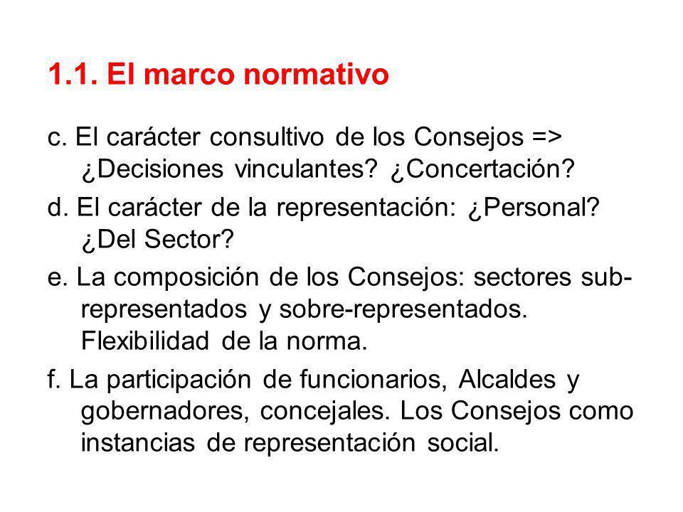 1.1. El marco normativo c. El carácter consultivo de los Consejos => ¿Decisiones vinculantes? ¿Concertación? d. El carácter de la representación: ¿Per