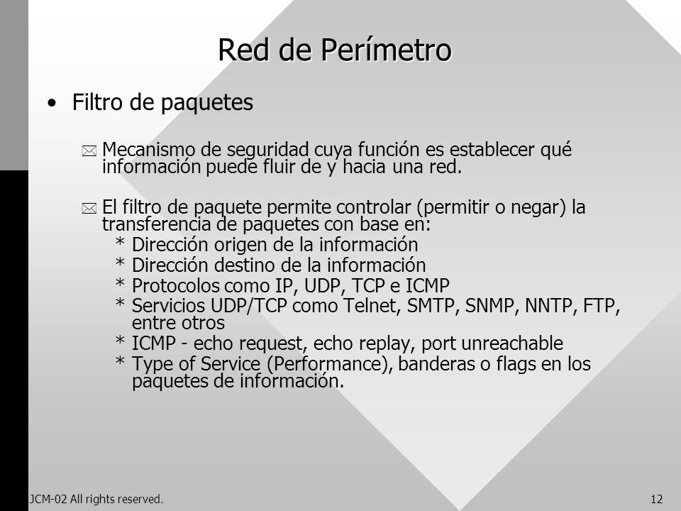 JCM-02 All rights reserved.12 Red de Perímetro Filtro de paquetes * Mecanismo de seguridad cuya función es establecer qué información puede fluir de y