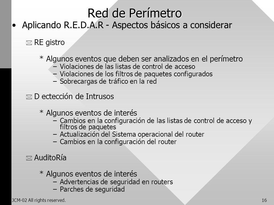 JCM-02 All rights reserved.16 Red de Perímetro Aplicando R.E.D.A.R - Aspectos básicos a considerar * RE gistro *Algunos eventos que deben ser analizad