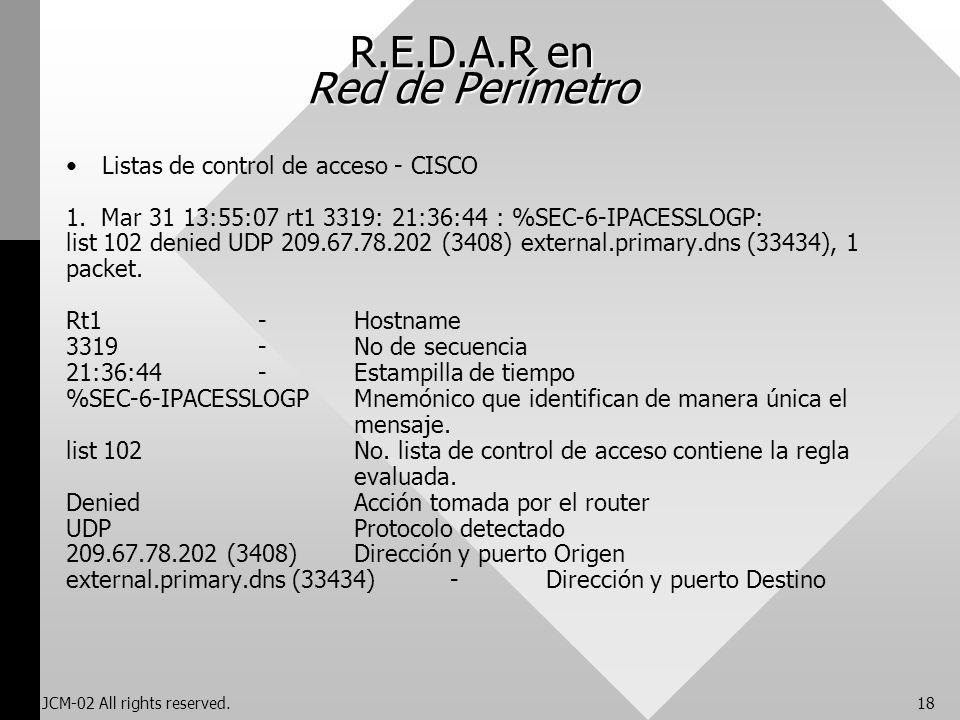 JCM-02 All rights reserved.18 R.E.D.A.R en Red de Perímetro Listas de control de acceso - CISCO 1. Mar 31 13:55:07 rt1 3319: 21:36:44 : %SEC-6-IPACESS
