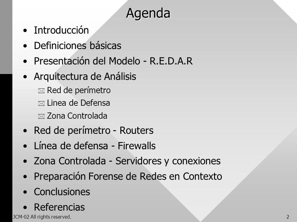 JCM-02 All rights reserved.2 Agenda Introducción Definiciones básicas Presentación del Modelo - R.E.D.A.R Arquitectura de Análisis * Red de perímetro