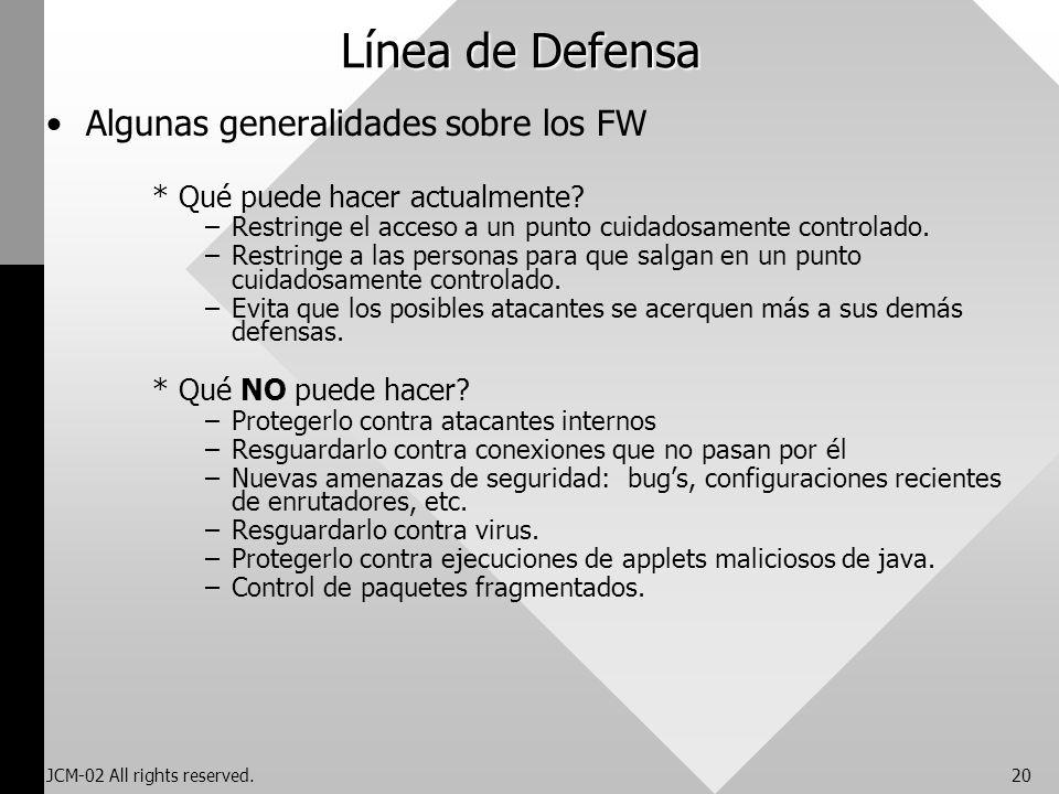 JCM-02 All rights reserved.20 Línea de Defensa Algunas generalidades sobre los FW *Qué puede hacer actualmente? –Restringe el acceso a un punto cuidad