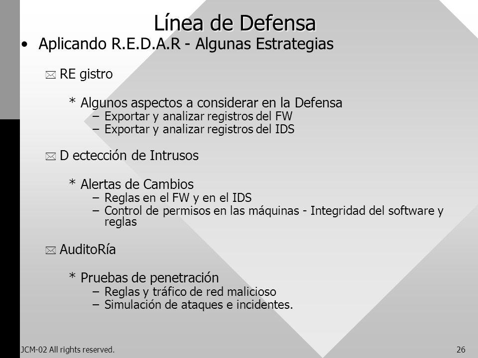 JCM-02 All rights reserved.26 Línea de Defensa Aplicando R.E.D.A.R - Algunas Estrategias * RE gistro *Algunos aspectos a considerar en la Defensa –Exp