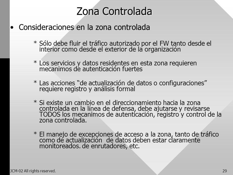 JCM-02 All rights reserved.29 Zona Controlada Consideraciones en la zona controlada *Sólo debe fluir el tráfico autorizado por el FW tanto desde el in