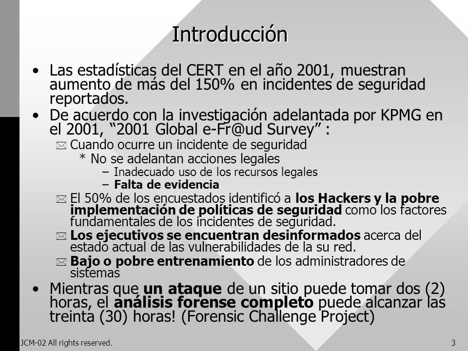 JCM-02 All rights reserved.3 Introducción Las estadísticas del CERT en el año 2001, muestran aumento de más del 150% en incidentes de seguridad report