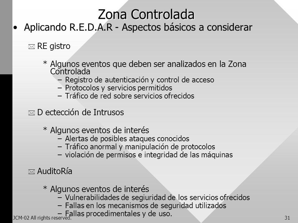 JCM-02 All rights reserved.31 Zona Controlada Aplicando R.E.D.A.R - Aspectos básicos a considerar * RE gistro *Algunos eventos que deben ser analizado