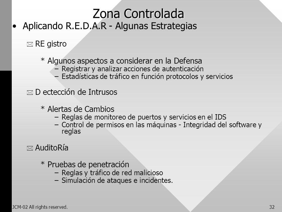 JCM-02 All rights reserved.32 Zona Controlada Aplicando R.E.D.A.R - Algunas Estrategias * RE gistro *Algunos aspectos a considerar en la Defensa –Regi